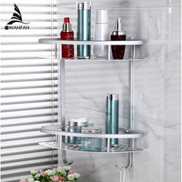 Free Shipping Two Layer Bathroom Rack Space Aluminum Towel Washing Shower Basket Bar Shelf /bathroom accessories 2517