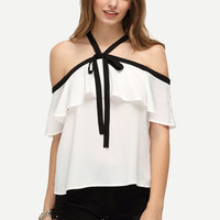 White Ruffle Halter Off The Shoulder Blouse [6221146628]