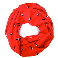 Red Penguin Cowl Scarf Eternity Circle Single Loop Scarf Black Penguins Poe-Poe's Just Enough Scarf Cute Women Teen Gift