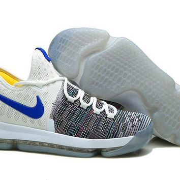 auguau Nike Men's Durant Zoom KD 9 Knit Mid-High Basketball Shoes White Grey 40-46