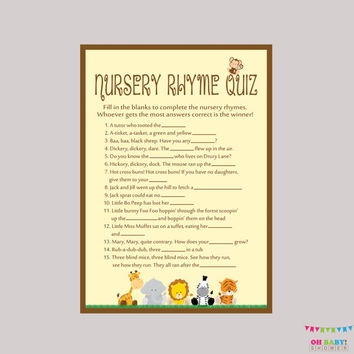Safari Baby Shower Nursery Rhyme Quiz Game - Printable Instant Download - Safari Baby Shower Game Monkey, Elephant, Tiger, Lion - BS0001-N
