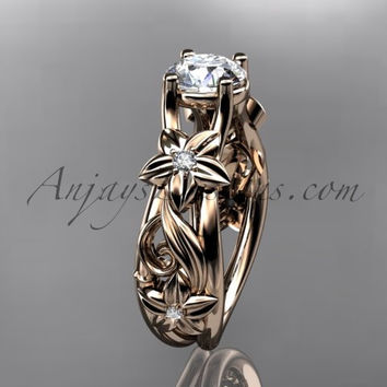 14kt rose gold diamond floral wedding ring, engagement ring ADLR216