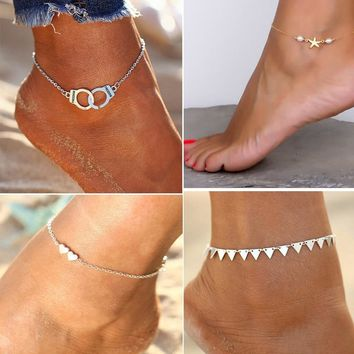Starfish Handcuffs Hearts Cute Women Ankle Bracelet Ladies Anklet Ankle Chain Leg Jewelry Gold Silver Color