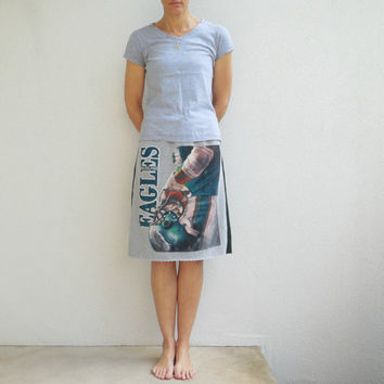 Philadelphia Eagles T-Shirt Skirt Women's Skirt Womens TShirt Skirt Gray Green Recycled Knee Length Skirt Cotton Skirt Soft Spring ohzie