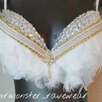 Victoria secrets angel inspired white feather rave bra- white angel festival bra-white feathered wing decorated bra