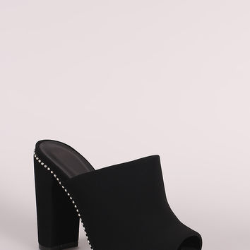 Qupid Nubuck Peep Toe Beaded Trim Chunky Heeled Mules | UrbanOG