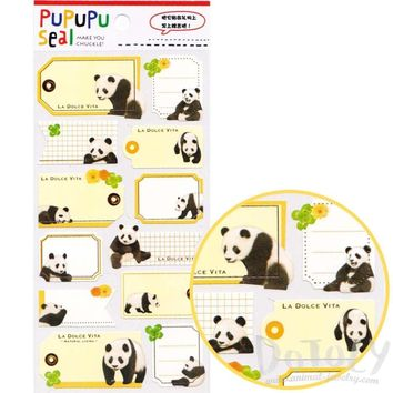Panda Bear Glossy Photo Label Index Stickers for Scrapbook and Card Making
