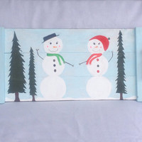 Rustic snowman wood serving tray with handles, hand painted, Christmas serving tray