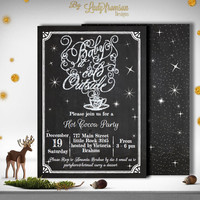 Hot Cocoa Chalkboard Invitation ,  Hot Chocolate, Coffee, Cookie Party | DIY INSTANT DOWNLOAD, Christmas, Holiday Cards for home printing