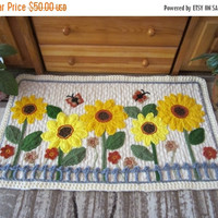 ON SALE - 10% OFF Sunflowers Crochet Rug...Knitted Patchwork Rug...Hand made room decoration...