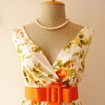 Tea Dress Floral Dress Vintage Inspired Dress Tangerine Summer Dress Floral Bridesmaid Dress Vintage Dress Party Dress Tangerine Rose-S-M-