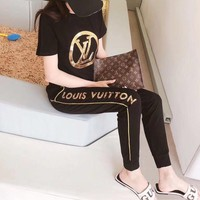 """Louis Vutitton"" Women Casual Fashion Sequin Letter Short Sleeve Trousers Set Two-Piece Sportswear"