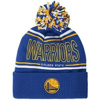 NBA Golden State Warriors Men's Energy Stripe Cuffed Knit Pom, One Size, Blue