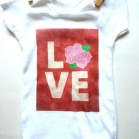 Love - Rose - Baby Onesuit for baby girls size 0-3 months, 6-9 months, 12 months, 18 months