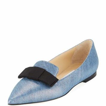 Jimmy Choo Gala Metallic Denim Flat