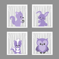 Woodland Animals Soft Purple Squirrel Bunny Skunk Owl CUSTOMIZE COLORS, 8x10 Prints, set of 4, Nursery Decor Print Art Baby Room Baby Girl