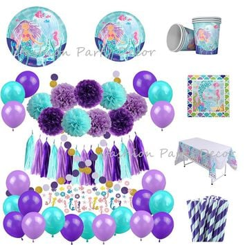Mermaid Birthday Tableware Decoration Party Plates Cups Napkins Straws Paper Tassel Flower Ball&Confetti Balloons for Wedding