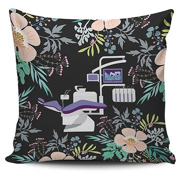Floral Dentist Office Pillow Cover