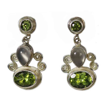 Sterling Silver Dangling Peridot and Moonstone Earrings