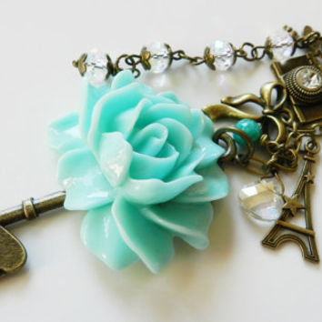 Key chain, accessories, bag charm, purse charm, beaded, gift for her, blue flowers, romantic purse charm, key charm