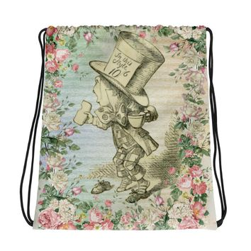 Alice in Wonderland Mad Hatter Drawstring bag