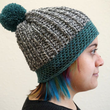 wool beanie, two tone beanie, pom pom hat, ribbed beanie, two tone hat, wool hat / THE OLIVER / Jade & Heathered Grey / Ready to Ship!