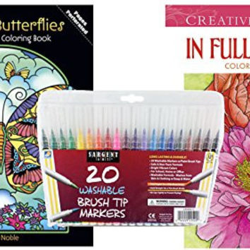 Sargent Art Washable Firm Brush Tip Markers in a Case, Set of 20 and 2 Dover Adult Coloring Books, In Full Bloom, and Stained Glass Fanciful Butterflies: Stress Relieving Patterns to Relax and Enjoy!