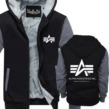 mens thick fleece hoodiess fashion Alpha Industries hoody Cotton short sleeves thick jacket summer style thick fleece hoodiess