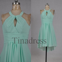 Custom Mint Halter Hi Low Bridesmaid Dresses 2014 Cheap Bridesmaid Dress Wedding Party Dress Homecoming Dresses Prom Dresses Evening Dresses