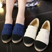 Fashion Trending Women Casual Canvas Shoes Weave Shoes Lazy Flats Shoes Single Shoes I