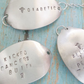 Medical Alert Bracelet / Upcycled Spoon Bracelet / Hand Stamped Jewelry / Diabetic Jewelry / Medical Condition / Cancer Survivor Jewelry