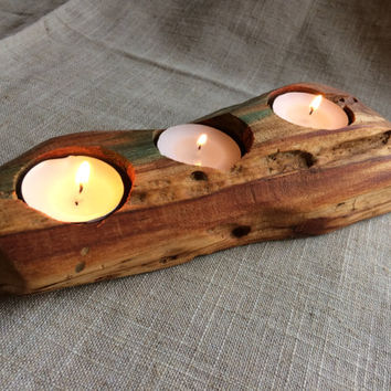 Rustic Aged Wood Tea Light Holder, Rustic Tea Light Holder, Unique Rustic Log Candle Holder, Plum Wood Tea Light Holder, Log Candle Holder