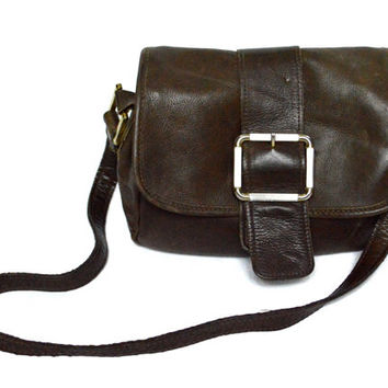 Vintage 80s Brown Shoulder Buckle Handbag Bag Purse