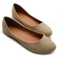 Ollio Womens Shoe Ballet Light Faux Suede Low Heels Flat(8.5 B(M) US, Beige)
