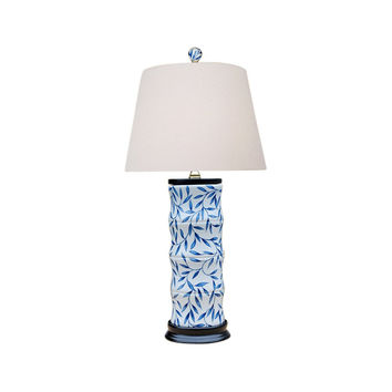 Blue and White Bamboo Floral Bamboo Style Porcelain Vase Table Lamp 24""
