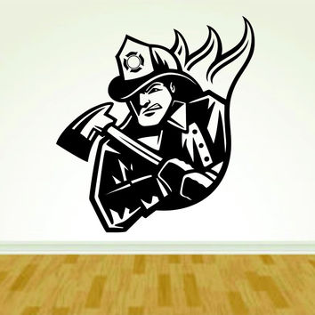 Firefighter Fireman with Ax and Fire Version 112 Decal Sticker Wall