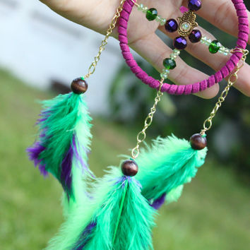 Mermaid Inspired Mini Dream Catcher- 2 3/4 in- Green and Purple Feathers- Hamsa- Peridot and Emerald- August and May Birthstone