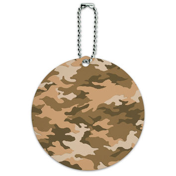 Camouflage Print Brown Round ID Card Luggage Tag