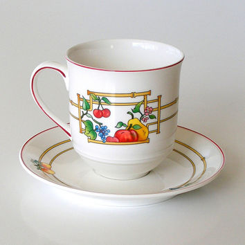 Villeroy and Boch Luxembourg Mon Jardin Coffee Cup & Saucer Set Vintage Villeroy and Boch China