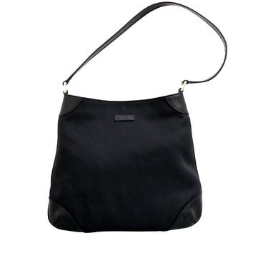 Gucci Canvas Black Capri Handbag Hobo Shoulder Bag 257296 1000