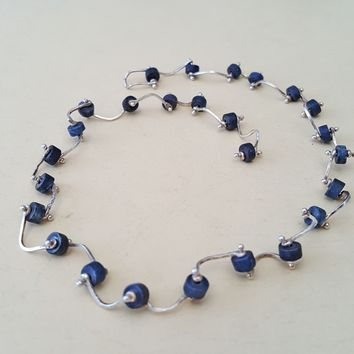 Denim Wheels Chain Sterling Silver Necklace with Tanzanite stone beads