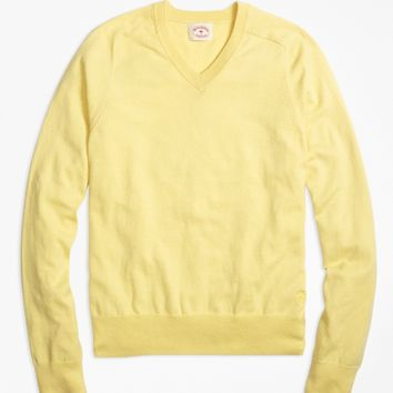 Cotton Cashmere V-Neck Sweater - Brooks Brothers