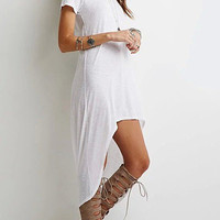 White High Low Hem Shirt Dress