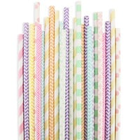 Pastel Rainbow Paper Straw Assortment