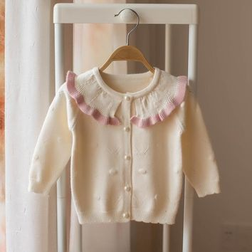 infants sweater coat 2018 new autumn winter girls princess clothes cute Lotus leaf collar girl Sweater cardigan for 0-2 age baby