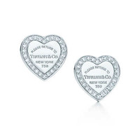 Tiffany & Co. - Return to Tiffany™ mini heart tag earrings in 18k white gold with diamonds.