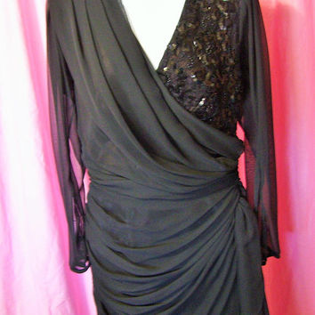 Rich Black, Evening Special Occasion, Dress, Resort Cruise Wear, Tea Waltz Length, Asymmetrical Flirty Hem, Designer Tadashi, Size 10