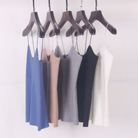 9 Colors Knitted Tank Tops Women Camisole Vest Simple Stretchable VNeck Slim Sexy Strappy New