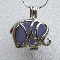Purple Sea Glass  Elephant Necklace Locket Frosted Pale by Wave of Life™