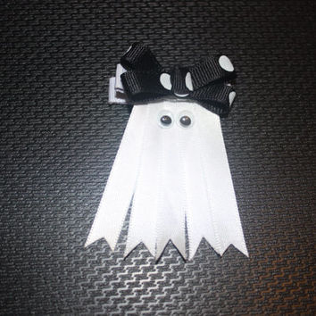 Halloween ghost hair clip Halloween hair accessories Fall hair bow Ribbon sculpture hair clip Hair clip for baby Toddler hair clip